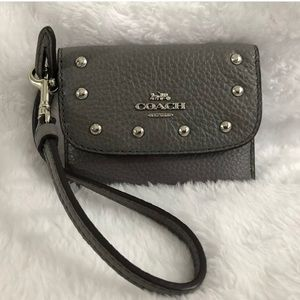 Coach NEW credit card wristlet Grey leather pouch